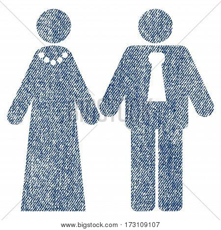 Newlyweds vector textured icon for overlay watermark stamps. Blue jeans fabric vectorized texture. Symbol with dirty design. Blue ink rubber seal stamp with fiber textile structure.