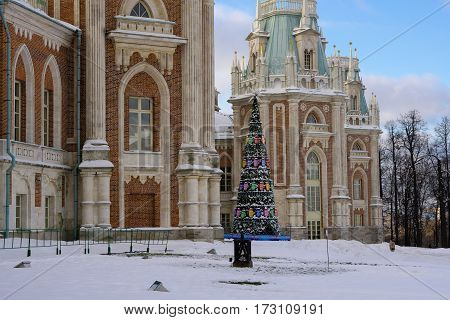 Moscow, Russia - January 18, 2017: Big Tsaritsyno Palace in the city of Moscow in winter