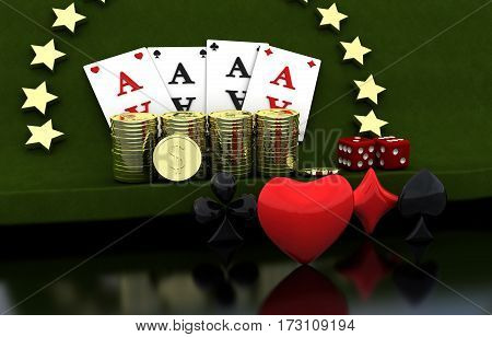 Gambling. Four cards coins stars. Green background 3D render