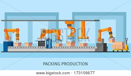 Industrial packing system process template with robotic arms and loaders working on automated conveyor belt vector illustration