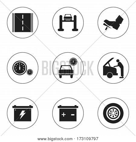 Set Of 9 Editable Transport Icons. Includes Symbols Such As Accumulator, Automobile, Auto Service And More. Can Be Used For Web, Mobile, UI And Infographic Design.