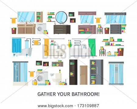 Bathroom interior concept wuth furniture equipment and accessories for your own design project isolated vector illustration