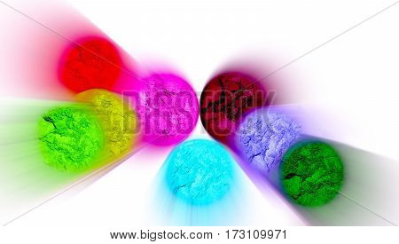 Multicolor blurred eye shadow isolated on white background.