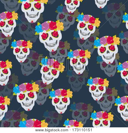 Human skull and flower wreath seamless pattern. Endless texture of isolated cranium decorated with blossoms on blue. Colourful roses with leaves. Flowers instead of eyes. Cartoon flat style. Vector