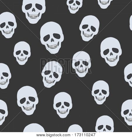 Skulls on black. Seamless pattern. Endless texture. Illustration of dark wallpaper. Many smiling craniums. White teeth. Bones of human head. Cartoon design. Wrapping paper. Flat style. Vector