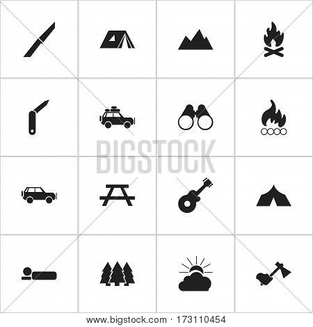 Set Of 16 Editable Camping Icons. Includes Symbols Such As Peak, Fever, Field Glasses And More. Can Be Used For Web, Mobile, UI And Infographic Design.