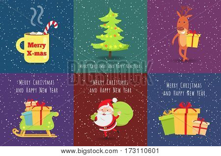 Merry Christmas and Happy New Year. Set of Icons. Merry X-mas yellow cup. Christmas tree. Deer with gift box. Wooden sleigh with many boxes of presents. Santa Claus with green sack of gifts. Vector