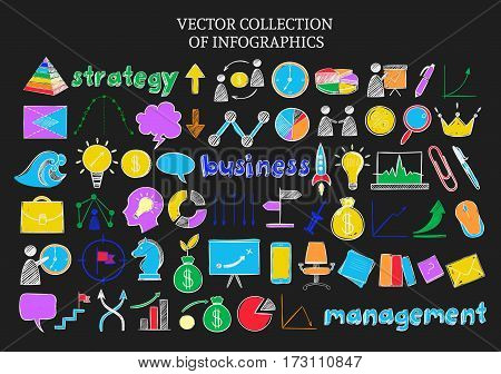 Colored infographic sketch icons set of business strategy and management elements on dark background isolated vector illustration