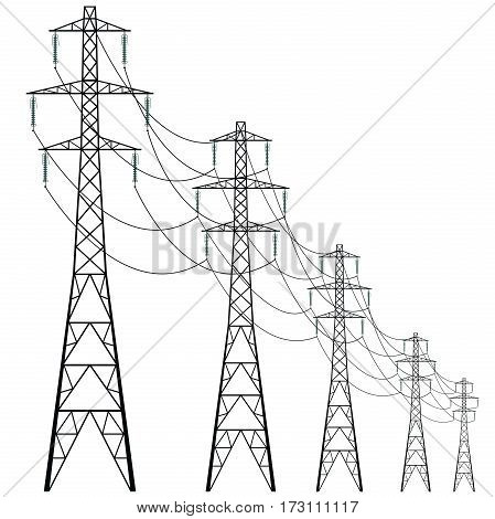Vector high voltage pylons on white background. Isolated colonnade of metal poles voltage. Surface industrial illustration. Power line pylons with safety locks. Nuclear facilities and power arteries.