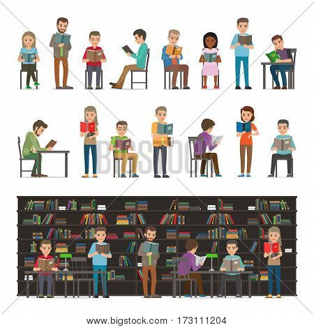 Reading people set isolated on white. Study in atheneum. Students read in library vector illustration. Men and women read books. Grown ups education. Public room with bookshelves. Shelves and tables.