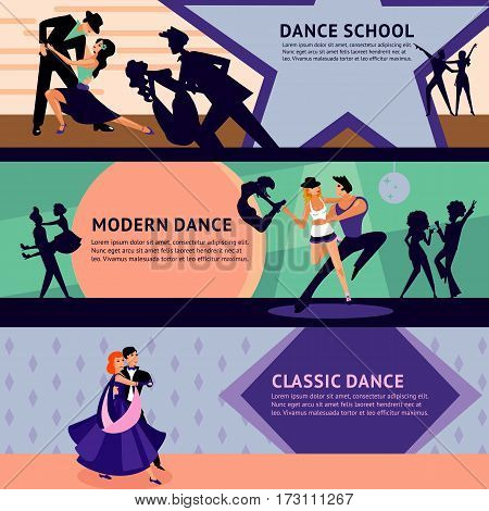 Colorful dancing people horizontal banners with male and female professional dancers of different styles vector illustration