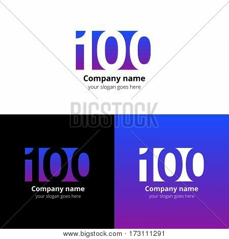 100 logo icon flat and vector design template. Monogram years numbers one and zero. Logotype one hundred with violet-pink gradient color. Creative vision concept logo, elements, sign, symbol for card.