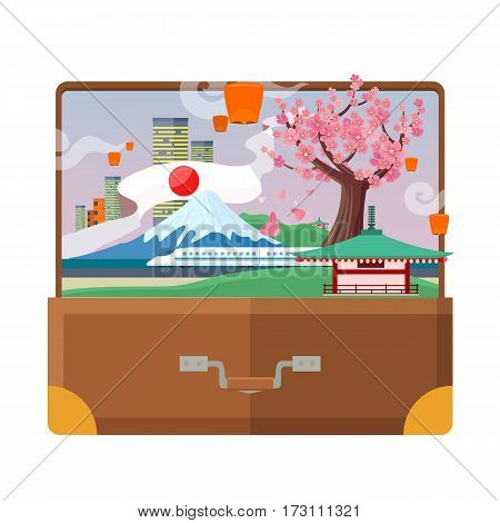Traveling to Japan concept in suitcase. Flat style. Vacation journey in Asia. City landscape, mount Fuji, air lanterns, sakura, pagoda, train. Japanese tourist attractions. For travel company ad