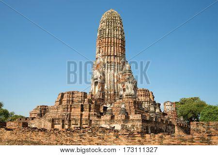 View of a giant prang Buddhist temple Wat Phra Ram. Ayutthaya, Thailand