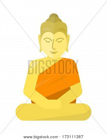 Thai god Buddha isolated on white background. Yoga zen. Indian, Buddhism, spiritual art, esoteric. Asian religion buddha statue with calm face. Traditional peaceful natural church buddha.