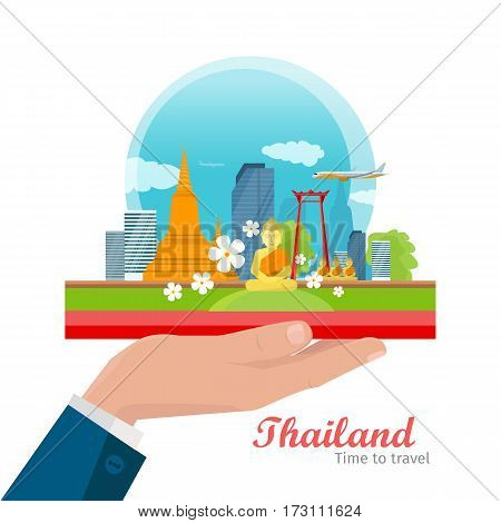 Thailand vector concept. Vacation in Asia. Flat illustration of airplane, skyscrapers, Buddhist architecture and monuments on man s hand. For travel, airline companies advertising. On white background
