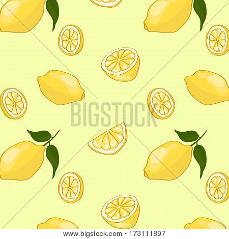 Light summer fruit pattern with ripe fresh natural lemons and leaves in flat style vector illustration