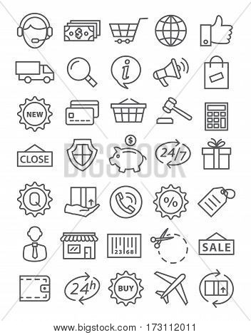 Shopping icons in line style on white