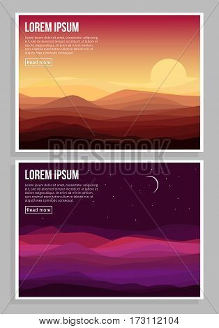 Desert landscape horizontal banners with sand dunes at sunset and night time vector illustration