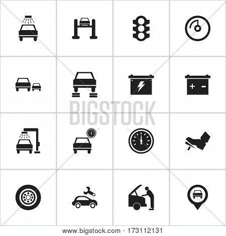 Set Of 16 Editable Traffic Icons. Includes Symbols Such As Accumulator, Treadle, Battery And More. Can Be Used For Web, Mobile, UI And Infographic Design.