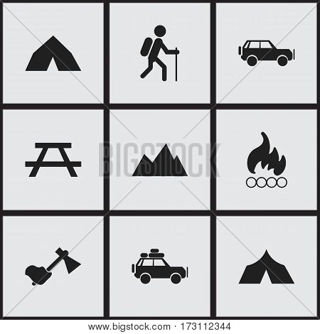Set Of 9 Editable Camping Icons. Includes Symbols Such As Peak, Blaze, Ax And More. Can Be Used For Web, Mobile, UI And Infographic Design.
