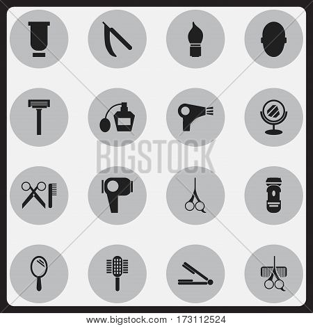 Set Of 16 Editable Hairdresser Icons. Includes Symbols Such As Take The Hair Dryer, Barber Tools, Cut Tool And More. Can Be Used For Web, Mobile, UI And Infographic Design.