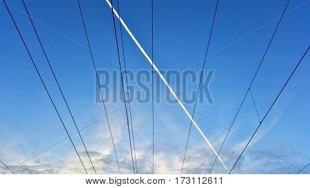 The Wires On The Blue Sky Background