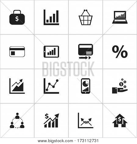 Set Of 16 Editable Logical Icons. Includes Symbols Such As Pay Redeem, Banking House, Graph Information And More. Can Be Used For Web, Mobile, UI And Infographic Design.
