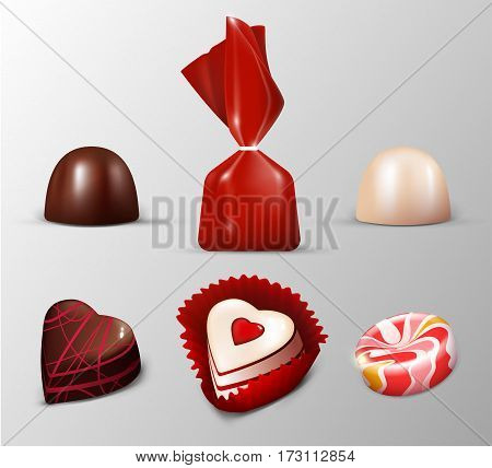 Realistic sweets collection with milk white dark chocolate candies and lolly of different shapes isolated vector illustration