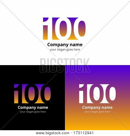 100 logo icon flat and vector design template. Monogram years numbers one and zero. Logotype one hundred with yellow-pink gradient color. Creative vision concept logo, elements, sign, symbol for card.
