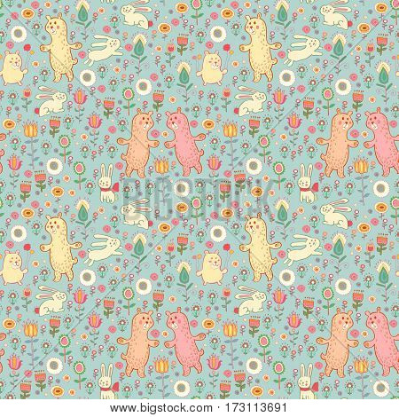 Ostern seamless pattern with gentle rabbit and bear in flowers. Baby print, decoration. Background border texture, wallpaper, wrapping