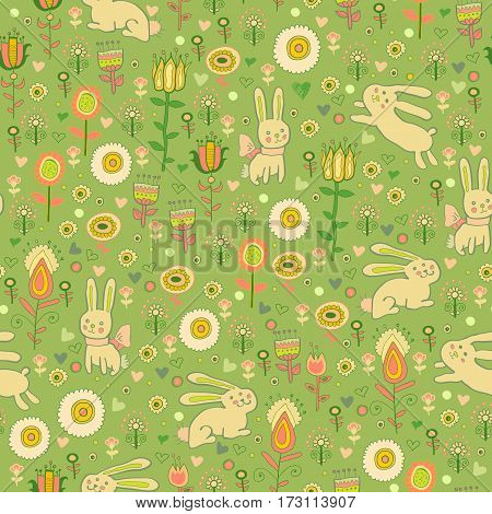 Ostern seamless pattern with gentle rabbit in flowers. Baby print, decoration. Background border texture, wallpaper, wrapping
