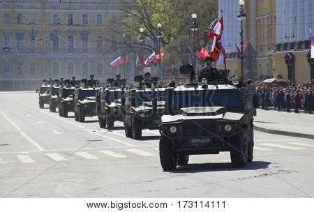 SAINT PETERSBURG, RUSSIA - MAY 09, 2015: Column multipurpose cars