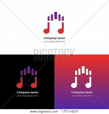 Music note logo, icon, sign, emblem motion equalizer wave beat vector template. Abstract symbol and button with pink-violet color trend gradient for music service or company on white background.