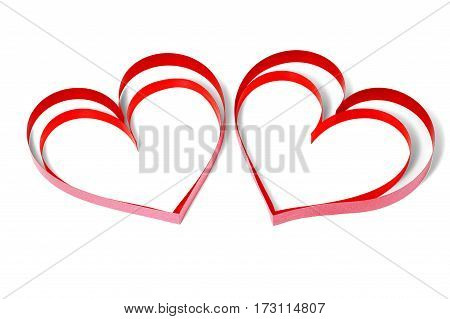 Two decorative hearts on white background isolated
