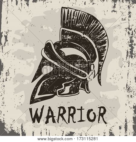 Spartan Helmet logo on grunge background, Greek warrior, Gladiator emblem, legionnaire heroic soldier. vector