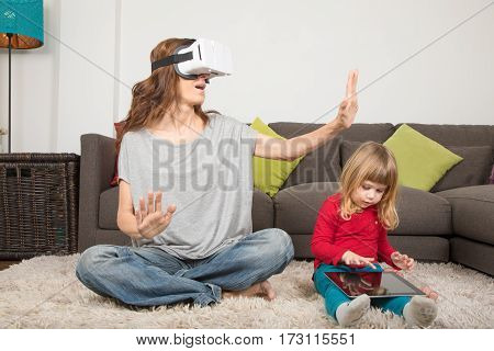 Mother With 360 Glasses And Child With Tablet
