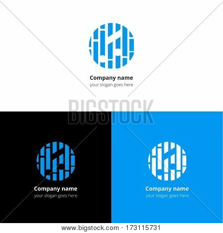 Music note and beat equalizer flat logo, icon, emblem, sign vector template. Abstract symbol and button with blue trend color for music service or company on white background.