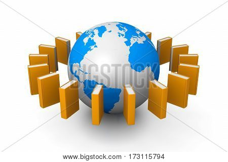 Books Flying Around the Earth 3D Illustration on White Background