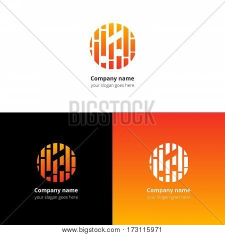 Music note and beat equalizer flat logo, icon, emblem, sign vector template. Abstract symbol and button with orange-yellow trend color gradient for music service or company on white background.