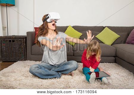 Woman With 360 Glasses And Child With Tablet