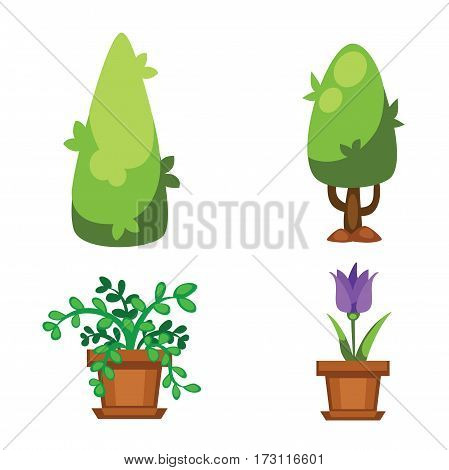 Cartoon tree vector illustration isolated on white background. Color environment trunk freshness natural eco icon. Organic plant juicy farm ripe agriculture.