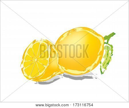 Delicious abstract lemon on white background with shadows