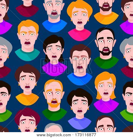 Extremely surprised young people shock seamless pattern portrait and frightened face emotions afraid expression person with open mouth vector illustration