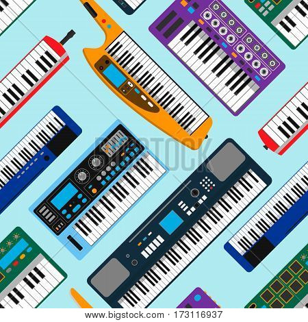 Synthesizer piano musical equipment seamless pattern vector illustration background