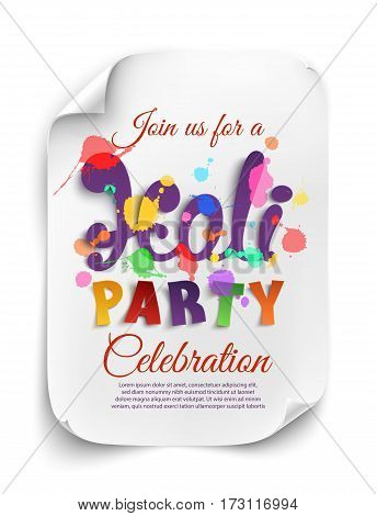 Holi party poster template on white background. Flyer or brochure template. Vector illustration.