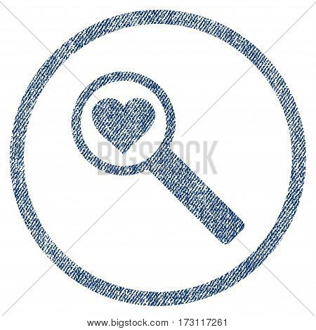 Find Love textured icon for overlay watermark stamps. Blue jeans fabric vectorized texture. Rounded flat vector symbol with scratched design.