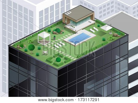 Cottage or bungalow apartment with a pool on the roof of a skyscraper in the city. Alternative of agriculture. Vector graphics