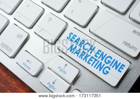 Abbreviation SEM search engine marketing on a keyboard.