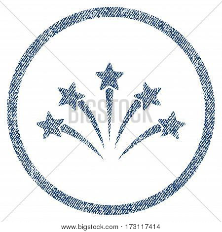 Fireworks Burst textured icon for overlay watermark stamps. Blue jeans fabric vectorized texture. Rounded flat vector symbol with dust design.